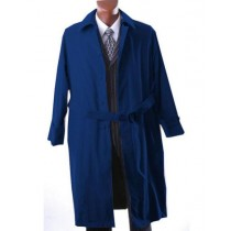 Mens Big And & Tall Button Closure Trench Coat Dark Navy Blue