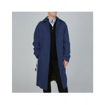 Mens Big And & Tall Button Closure Trench Coat Dark Navy