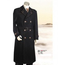 Mens Big And Tall Button Closure Trench Coat Black