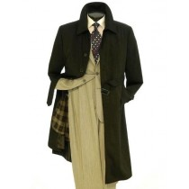 Mens Belted Big And Tall Trench Coat Full Length Black