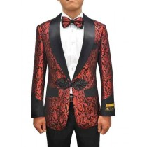 Shiny Pattern Alberto Nardoni Dinner Jacket In Red Black