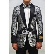Shiny Pattern Alberto Nardoni Silver Black Dinner Jacket