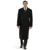 Mens Long Length Black Wool Blend Overcoat Double Breasted Top Coat