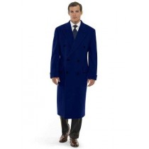 Mens Long Length Navy Blue Double Breasted Wool Overcoat