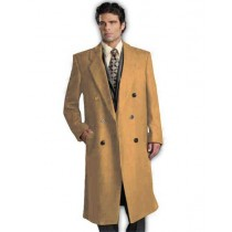 Camel Alberto Nardoni Double Breasted Wool Pea Coat