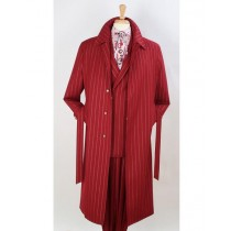Full Length Pinstripe Topcoat Trench Wool Fabric Burgundy Red