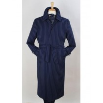 Full Length Pinstripe Overcoat Trench Wool Fabric Navy Blue