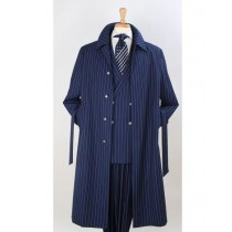Full Length Self Belt Topcoat Overcoat Trench Coat Wool Fabric Blue