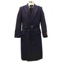 Alberto Nardoni Navy Button Closure Wool Topcoat