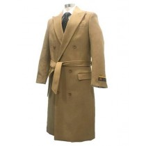 Alberto Nardoni Camel Peak Lapel Self Belt Wool - Mens Topcoat