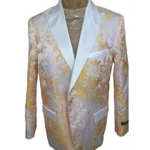Mens White Gold Floral Pattern Blazer