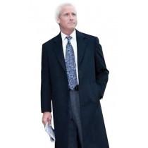 Mens Three button notch lapel navy blue wool Overcoat