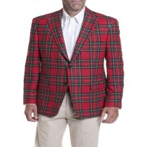 Mens Red Plaid Windowpane Tartan Sport Coat Jacket