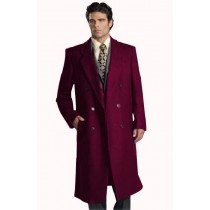 Mens Dark Burgundy Notch Lapel Long Mens Overcoat Double Breasted Top Coat