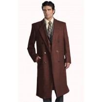 Mens Six Button Dark Brown Notch Lapel Fully Lined Long Overcoat Double Breasted Top Coat
