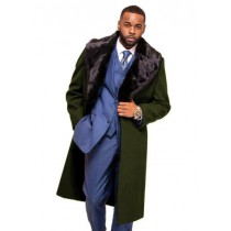 Alberto Nardoni Dark Olive Overcoat Fur Collar in Cashmere and Wool