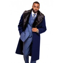 Alberto Nardoni Dark Navy Blue Overcoat Fur Collar in Cashmere and Wool