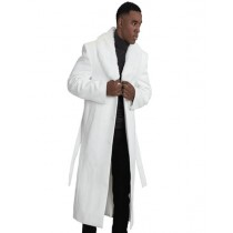 White Wool & Cashmere Overcoat With Fur Collar (No Belt included)