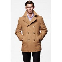 MENS PEACOAT WOOL FABRIC DOUBLE BREASTED STYLE COAT IN 10 COLORS