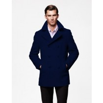 Mens Peacoat Wool Navy Blue double breasted Style Coat