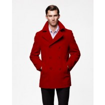 Double Breasted Wool Dark Red double breasted Style Coat Mens Peacoat