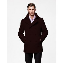 Mens Peacoat Wool Dark Brown double breasted Style Coat