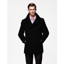 Mens Peacoat Wool Black double breasted Style Coat