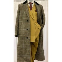 Men's Plaid Checkered Chesterfield Full Length Overcoat Wool and Cashmere Fabric