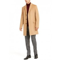 Mens Single Breasted Notched Lapel Cashmere Camel Overcoat
