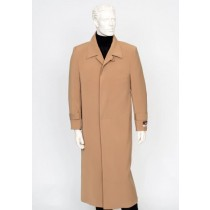 Mens Carmel 4 Buttons Notch Lapel Full Length All Weather Coat Duster Maxi Coat
