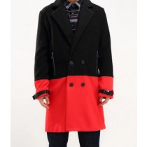 Black And Red Car Coat-Mens Half Way There Double Breasted Peacoat