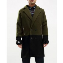 Double Breasted Peacoat Black And Olive Green