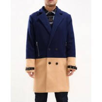 Mens Double breasted Peacoat Navy Blue Camel Car Coat