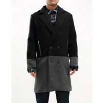 Double Breasted Peacoat Black And Charcoal Grey Car Coat