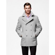 Mens Big and Tall Peacoat ~ Winter Light Grey Wool Coats