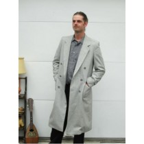 Mens Wool Light Grey Overcoat Double Breasted Top Coat