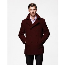 Mens Wool Fabric double breasted Style Coat For men Dark Burgundy