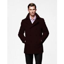Mens Peacoat double breasted Coat For men Dark Brown
