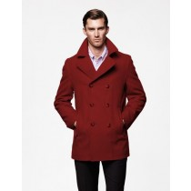 Mens double breasted Style Coat For men Burgundy