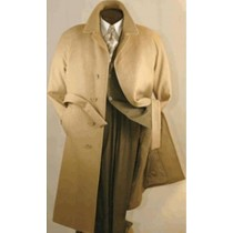 Camel Mens Full Length Wool Belted Wool Overcoat