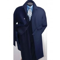 Navy Blue Mens Full Length Wool Belted Wool Overcoat