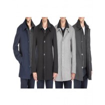 Mens Wool Peacoat Three Quarter Carcoat Charcoal
