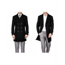 Mens Black Double Breasted Wool Peacoat