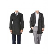 Mens Wool Double Breasted Charcoal Provides warmth Peacoat