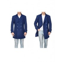 Mens Front Button Double Breasted Indigo Wool Peacoat