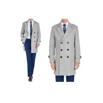 Mens Double Breasted Light Grey Carcoat Long Jacket