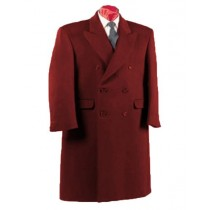 Alberto Nardoni Fully Lined Dark Burgundy Wool Long Overcoat