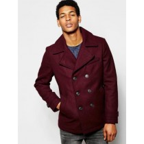 Mens Burgundy ~ Wine Six Button Wool Peacoat ~ Car Coat