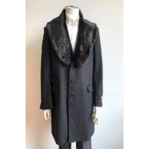 Mens Wool Three Quarter Ticket Pocket Peacoat ~ Carcoat ~ Overcoat With Fur Collar Black