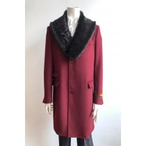 Mens Wool Three Quarter Ticket Pocket Peacoat ~ Carcoat ~ Overcoat With Fur Collar Burgundy